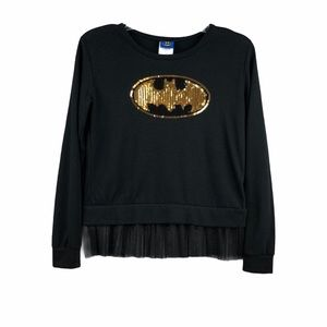 Batman Layered Long Sleeve Sequined Sweater Black